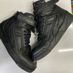 Givenchy Black Leather Baseball Stitch High-Top